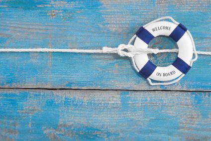 Rettungsring mit Aufschrift: Welcome on board